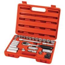"""Extol Premium dugókulcs klt., CV., racsnis 45fog ; 3/8"""", 39db, normál(8-22mm) és hosszú(8-19mm) dugófejek, gyertyakulcs 16 és 21mm, 11 bit, 6522"""