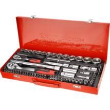"""Extol Premium dugókulcs klt., CV., racsnis 45fog ; 1/4"""" és 1/2"""", 65db, dugófejek (4-32mm), bitek, fém dobozban, 8818370"""