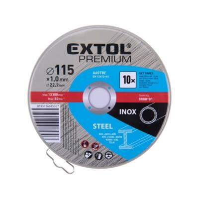 Extol Prémium vágókorong 10 db, acélhoz/inoxhoz, kék; 115×1×22,2mm, max 13300 ford/perc, fémdobozban /8808101/
