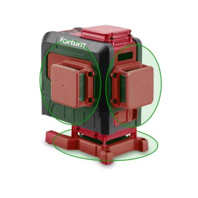 """Fortum automatikus lézeres vízszintező, ZÖLD, 3D (3×360°) pontosság: 0,2mm/1m, 1/4"""" és 5/8"""" menet (4780216)"""