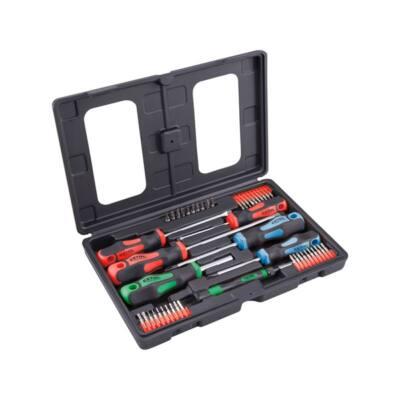 Extol Premium csavarhúzó és BIT klt., 47 db; lapos: 5,5×38, 5,5×100, 6,5×125mm és 8×150mm, PH1×75, PH2×38 és PH2×125, CV., műanyag tartóban (8819258)
