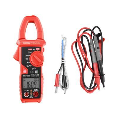 Extol Premium lakatfogó és digitális multiméter; Amper/Volt/Ohm mérő, True RMS, hangjelző funkcióval, CE, 2 db 1,5V AAA elem (8831253)