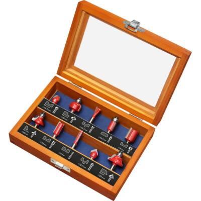 Extol Premium felsőmaró klt. 10 db-os (fadobozban) ; 6mm-es befogással, keményfém lapkés, csapágyas,  44041