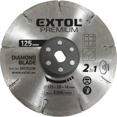 Extol gyémántvágó korong 125×20mm, 2az1ben, 8893020B