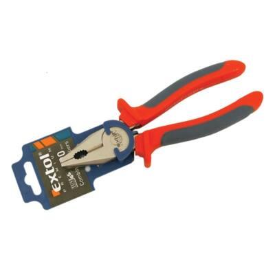 Extol Premium kombinált fogó, 200mm, duál narancs/kék, TPR nyél, akasztós szerszámtartó, 8813114
