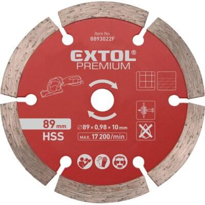 Extol Premium gyémántvágó korong, 89mm, szegmenses, a 8893022 mini körfűrészhez, csempére, járólapra, 8893022F