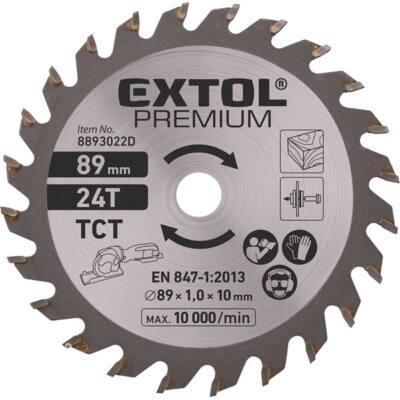 Extol Premium körfűrészlap, keményfém lapkás, 89mm, 24T a 8893022 mini körfűrészhez, fára és farostlemezre, 8893022D