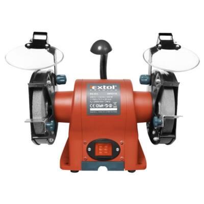 Extol kettős köszörűgép 350W, száraz, 150×12,7×20mm, (P36, P80), 2950 ford/perc, 9kg, lámpával, 8892110