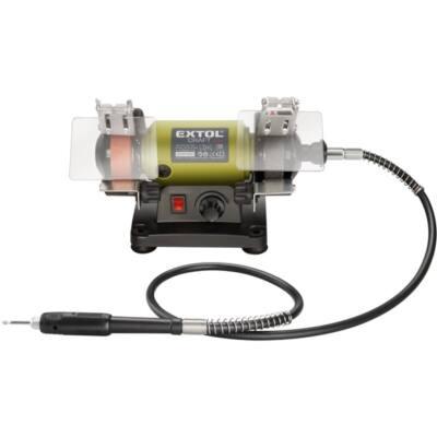Extol mini kettős köszörűgép flexibilis szárral, 120W; száraz, 75×10×20mm, 0-9900 ford/perc, 2,3kg, 410112