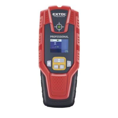 Extol Premium digitális detektor, rejtett fém (vas, réz, alumínium) és fa tárgyak, illetve feszültség alatti vezeték keresésére, LCD kijelző, 8831321