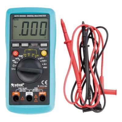 Extol digitális multiméter; Amper/Volt/Ohm mérő, hangjelző funkcióval, CE, 3 db 1,5V AAA elem, 8831250