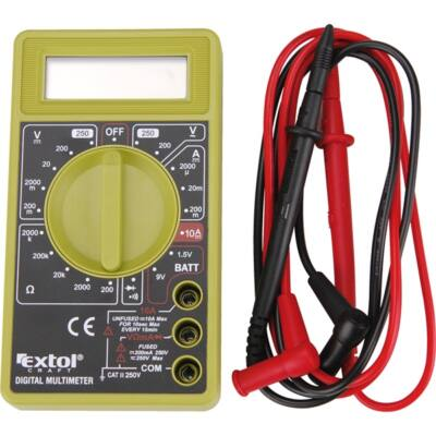 Extol digitális multiméter; Amper/Volt/Ohm mérő, hangjelző funkcióval, CE, 1 db 9V elem, 600011
