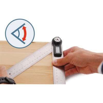 Extol digitális szögmérő-vonalzó, szög- és hosszmérésre, 0-360°, pontosság: ±0,3°, 2×200 mm Inox szár mm és col beosztással, 8823510