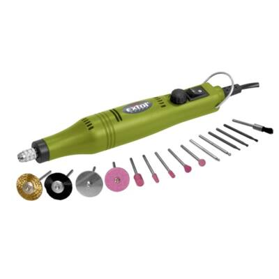 Extol craft mini köszörű és fúrógép + tartozék készlet 18V; adapterrel, 404122
