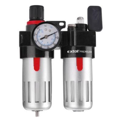 """Extol levegőelőkészítő (légszűrő nyomásszabályozóval, olajozóval ésmanométerrel),max.8Bar,1/4"""",max.60°C,90ml szűrő&90mlolajzó, 8865105"""