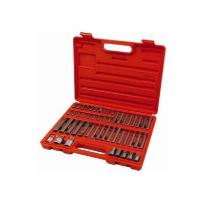 """Extol BIT klt. 51 db HEX-TORX-XZN, 10mm+14mm, 3/8""""+1/2"""" adapterek, S2 acél, műanyag dobozban, 8818200"""