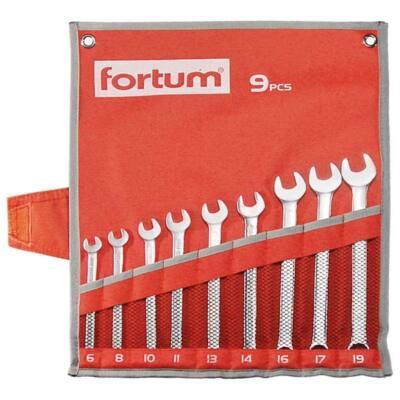 Fortum csillag-villás kulcs klt. 9db, 6-19mm 61CrV5, mattkróm, vászon tok, 4730202