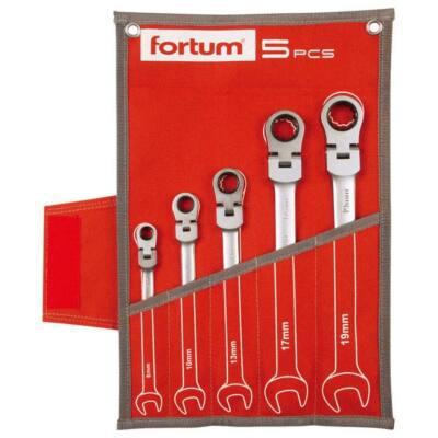Fortum  csuklós racsnis csillag-villás kulcs klt. 5db, mattkróm; 8-10-13-17-19mm, 72 fog, 4720201