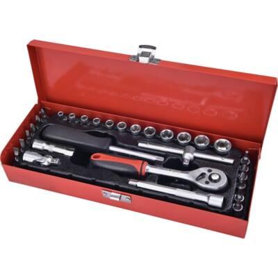 """Extol Premium dugókulcs klt., CV., racsnis 45fog ; 1/4"""" 30db, normál (4-14mm) dugófejek, bitdugófej (-, +, imbusz, torx), fém doboz, 8818361"""
