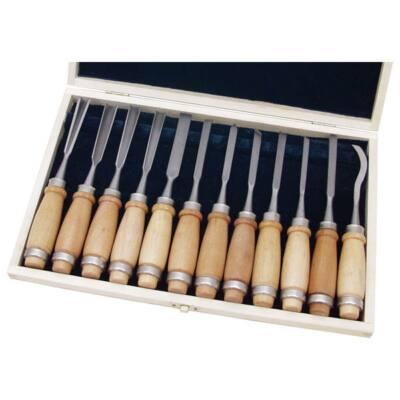 Extol permium fafaragó készlet ; 12db, fanyelű, fa dobozban, crv, HRC 58-60, 8812405