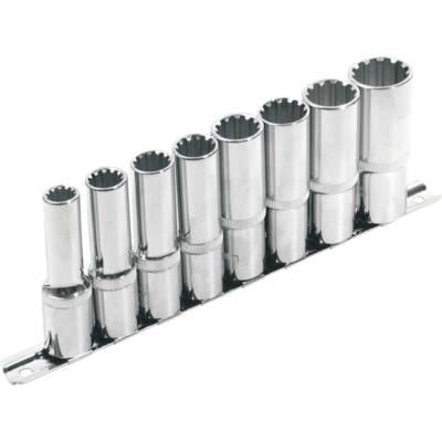 """Extol Premium hosszított Multi Lock dugófej klt. ; 1/2"""", 8db 10, 12, 13, 14, 16, 17, 19, 22mm, tartó sínen, 8818112"""