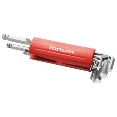 Fortum imbuszkulcs klt., hosszú, gömbfej, 9db, 1,5-10mm, S2; 1,5-2-2,5-3-4-5-6-8-10, műanyag markolat, 4710100