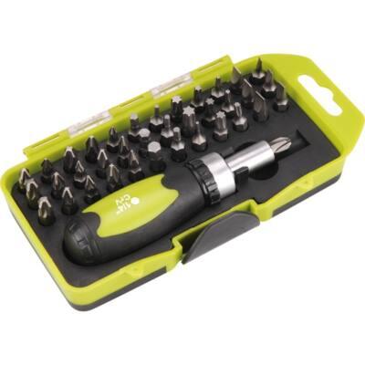 Extol Craft racsnis BIT csavarhúzó klt.; 38db-os, CrV., irányváltós, mágneses, műanyag dobozban, 53092