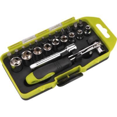 Extol Craft racsnis BIT és dugókulcs klt.; 23db-os, CrV., irányváltós, mágneses, műanyag dobozban, 53090