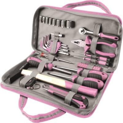 """Extol Craft LADY szerszámkészlet, 39db, 1/4""""; Extol Lady, rózsaszín, 8 dugófej (5-14mm), fogó, csavarhúzók, kalapács, BIT-ek, 6596"""