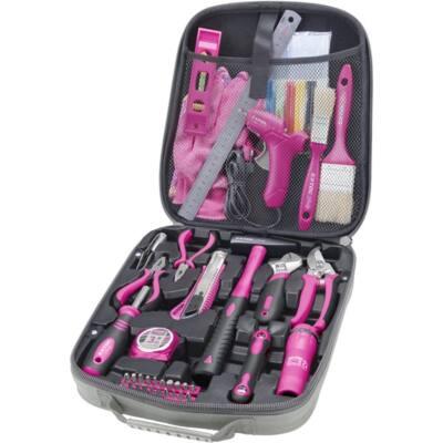 Extol Craft szerszámkészlet, 63db; Extol Lady, rózsaszín, fogó, csavarhúzók, kalapács, BIT-ek, melegragasztó pisztoly, LED-lámpa, 6593