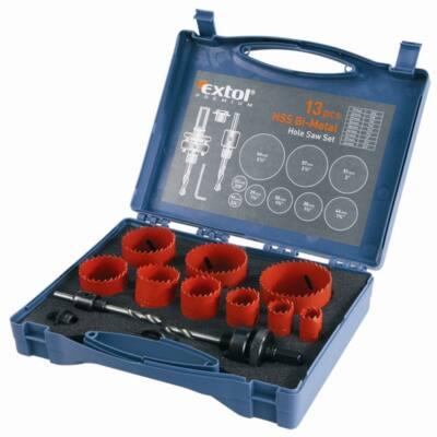 Extol Premium körkivágó klt.,HSS Bi-metál,13db-os,(19-22-29-35-38-44-51-57-64mm) műanyag,fa,gipszk.,ALU,réz, vas,acél,rozsdamentesacél, 8801604