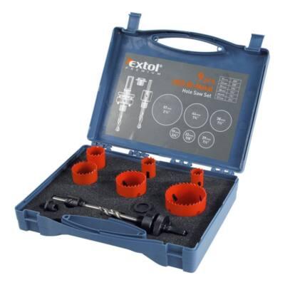Extol Premium körkivágó klt., HSS Bi-metál, 9db-os, (19-22-29-38-44-57mm) műanyag,fa,gipszkarton,ALU,réz,vas, acél, rozsdamentesacél, 8801602