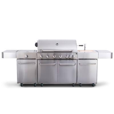G21 Nevada, BBQ konyha Premium Line Gázgrill 7 égőfej+ ajándék nyomáscsökkentő (GA-BBQNVD)