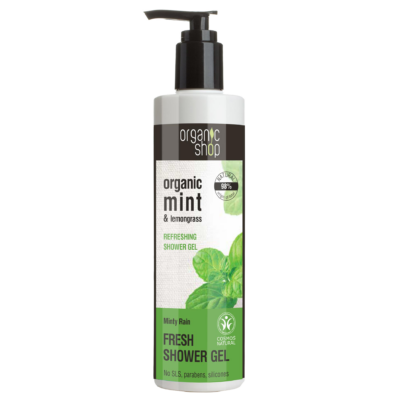 Organic Shop bio Menta eső frissítő tusfürdő bio menta és citromfű kivonattal 280 ml