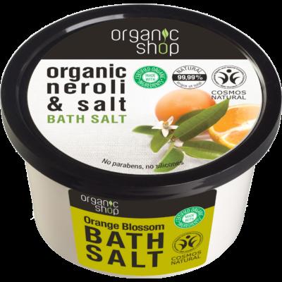 Organic Shop bio Narancsvirágzás fürdősó narancsvirág és tengeri só kivonattal 250 ml